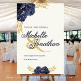 PRINTABLE Wedding Welcome Sign, Navy Blue and Gold Wedding Welcome Sign, Navy and Gold Wedding Decor, Gold and Dark Blue Flowers Wedding Signage by Soumyas Invitations