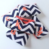 Five Personalized Cosmetic Bags, Navy and Coral