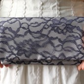 Navy Lace and Silver Satin Clutch
