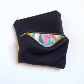 Navy Leather Makeup Clutch Bag
