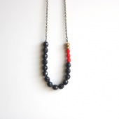 Navy Gold Red Beaded Strand Necklace