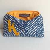 Fall Wedding Bag: Navy Blue & Mustard Yellow, Personalized Cosmetic Bag, Chevron Monogrammed Bridal Shower Gift