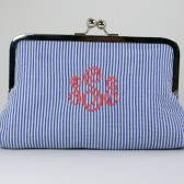 Monogrammed Navy Seersucker Mini Clutch