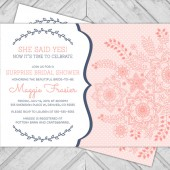Printable Navy and coral, wedding shower invite, polkadots, henna flowers
