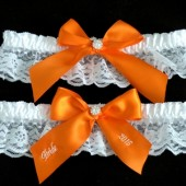 Orange Wedding Garter Set