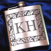 Oak Leaf Monogrammed Flask, Gift for Groomsmen