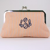 Monogrammed Orange Seersucker Mini Clutch