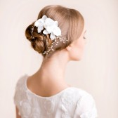 Bridal, hair, comb, wedding, organza, headpiece, bridal headpiece, bridal hair comb, flower comb, pearl