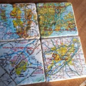 Our Love Story Custom Map Coaster Set Highlighting all the important places with memories for the couple!