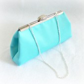 Tiffany Blue and Platinum Grey Bridal Clutch