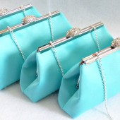 Tiffany Blue and Platinum Grey Wedding Party Clutch Set