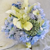 Green Bridal Bouquet Blue Silk Wedding Flowers Ice Crystals