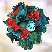 Peacock Bridal Bouquet Teal & Red Wedding Flowers