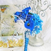 Turquoise Teal Blue Wedding Bouquet Feather Bling Wedding Flowers