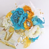 Jeweled Bridal Bouquet White Gold Blue Silk Wedding Flowers Set