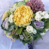 Yellow Lilac Purple Wedding Bouquet Spring Garden Roses