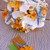 Orange Cream Bridal Bouquet Blue Starfish Tropical Wedding