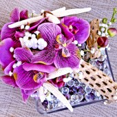Purple Bridal Bouquet, Starfish Beach Wedding Set
