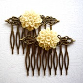 Beige Flower Hair Comb Set