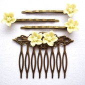 Vanilla Flower Hair Piece Set