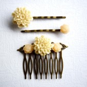 Beige Flower Hair Piece Set