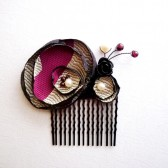 Black Silver & Wine Hair Comb