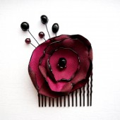 Wine & Black Hair Comb