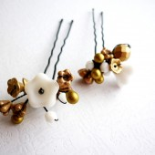 Gold & White Floral Hair Pins