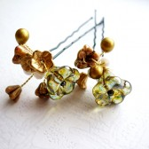 Gold & Green Hair Pins
