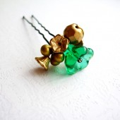 Emerald Green & Gold Hair Pin