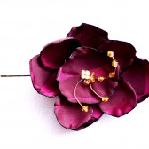 Wine & Gold Rose Hair Flower