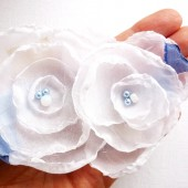 White & Blue Double Flower Hair Barrette