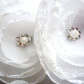 White Double Flower Hair Barrette