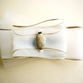 White & Gold Bow Hair Barrette