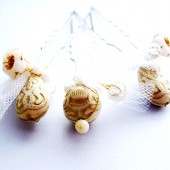 Gold and White Hair Pin Set