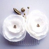 Double White Rose Hair Comb