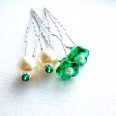 Emerald Green & Wite Hair Pin Set