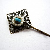 Turquoise & White Bronze Hair Pin