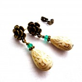 Emerald Green and Golden Drop Earrings