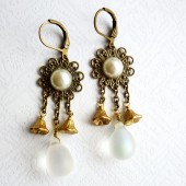 White and Golden Bronze Lace Earrings