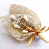 Rustic Burlap and Pearl Boutonniere
