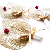Red & White Burlap Boutonnieres