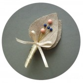 Coral and Navy Blue Boutonniere