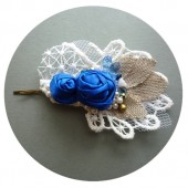 Blue Roses Burlap and Lace Bridal Hairpin