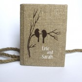 Wedding rustic guest book burlap Linen Wedding guest book Bridal shower engagement anniversary Brown birds on branch
