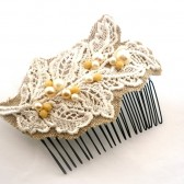 Lace and Burlap Leafy Hair Comb