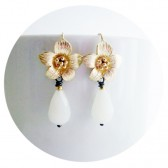 White Lilly Bridal Earrings