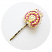 Pink and Vanilla Soutache Bridal Hairpin