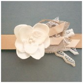 Ivory and Champagne Flowergirl sash