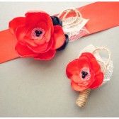 Poppy Red Bridal Sash & Boutonnier Set
